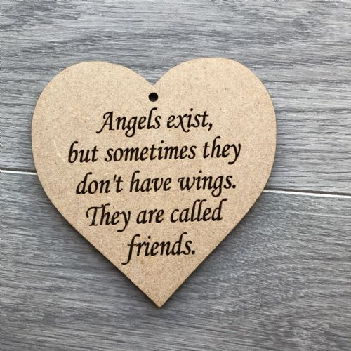 Angels exist... 10cm hanging heart  MDF unpainted